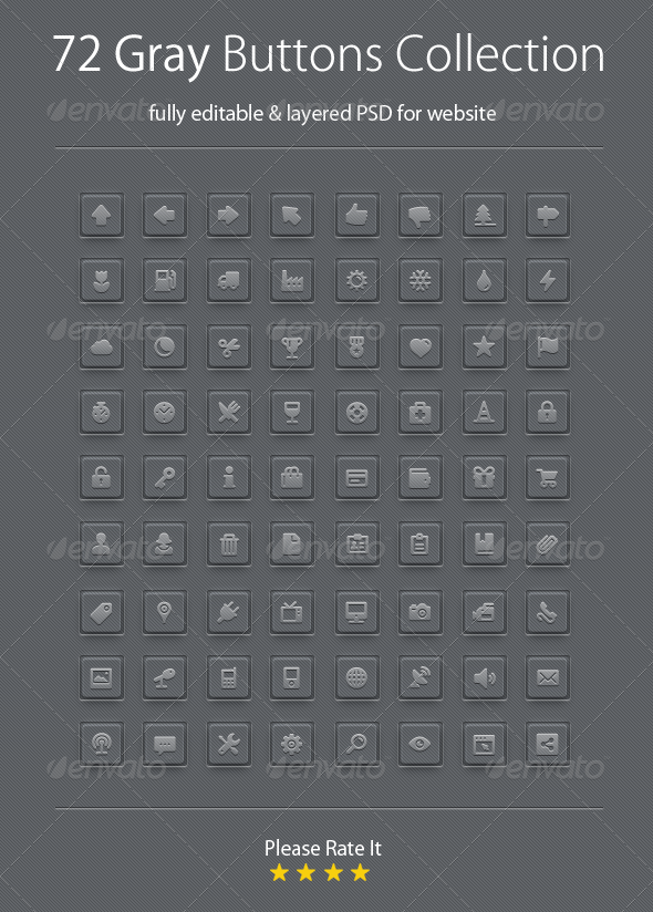GraphicRiver Gray Buttons Collection 4086966