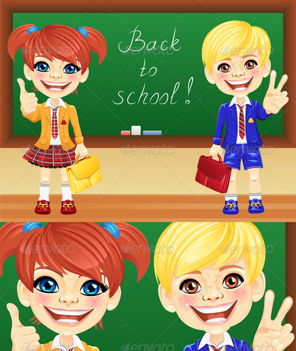 GraphicRiver Vector Schoolchildren near Blackboard 4175200