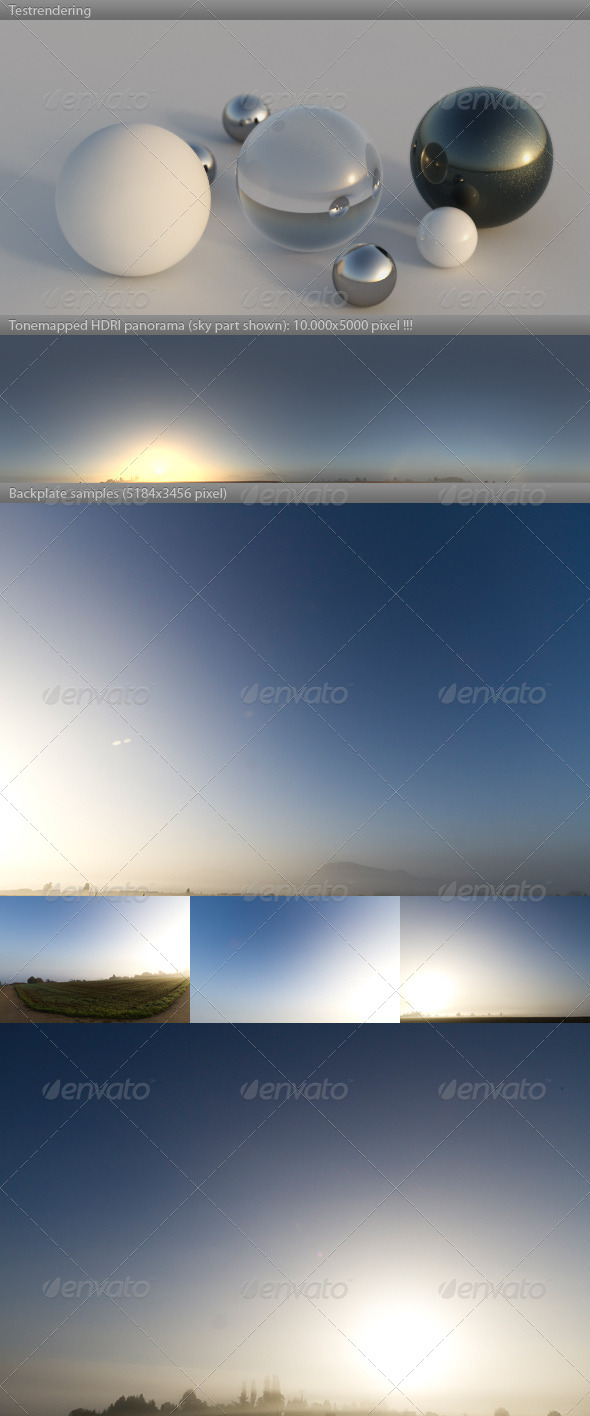 3DOcean HDRI spherical sky panorama 0821- misty dawn sun 4176344