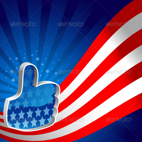 GraphicRiver American Flag Thumbs Up 4176473