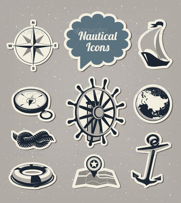 GraphicRiver Nautical Icons Set 4176596