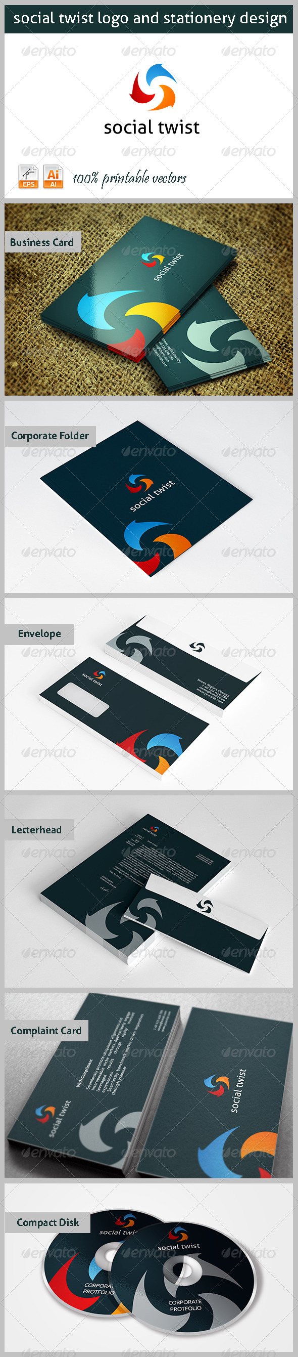 Social TwistLogo and Stationery - Stationery Print Templates
