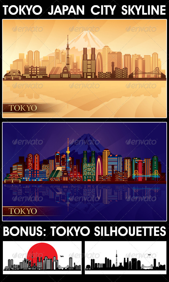 GraphicRiver Tokyo Japan City Skyline Silhouettes Set 4178922