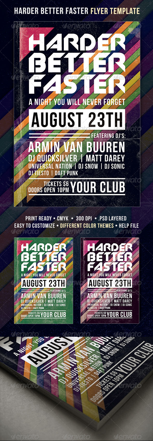 Harder Better Faster Flyer - Clubs & Parties Events