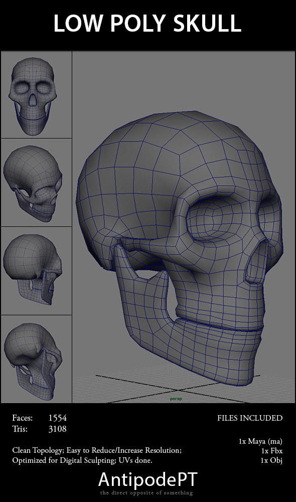 3DOcean Low Poly Skull 4181178