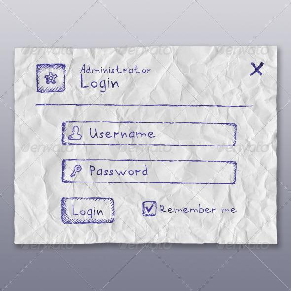 GraphicRiver Web App Login Form BallPen 4182451