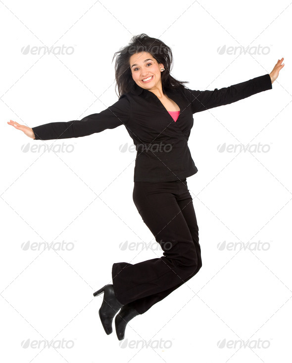 business woman jumping - Stock Photo - Images