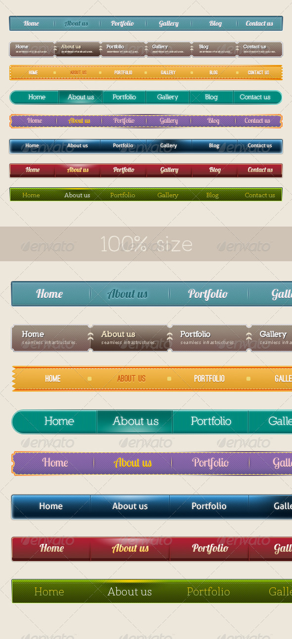 GraphicRiver 8 Style Navigation Bars 4100833
