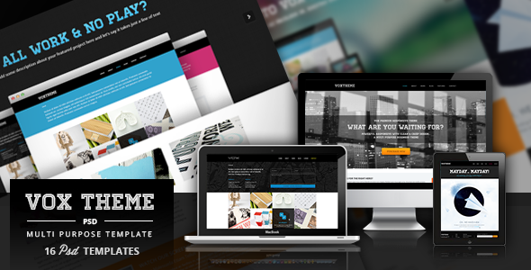 ThemeForest Vox Clean & Modern PSD Template 4184684