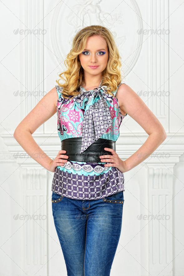 beautiful blonde woman in silk blouse. - Stock Photo - Images