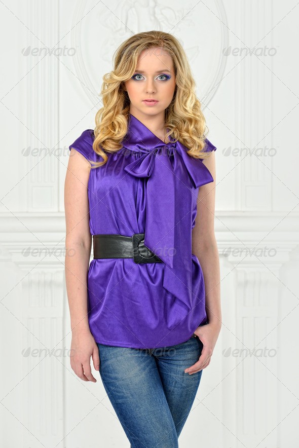Beautiful  woman in violet blouse, - Stock Photo - Images