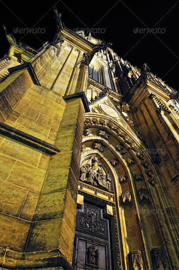 Prague. St. Vitus cathedral in darkness. - Stock Photo - Images