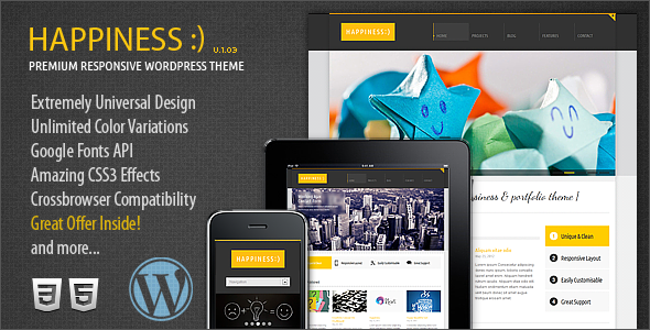 Happiness Premium Responsive WordPress Theme - Business Corporate