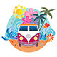 Retro Surfing Camper Van - GraphicRiver Item for Sale