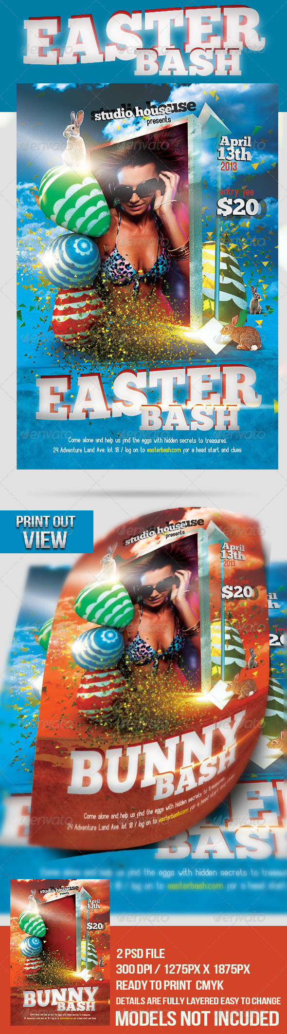 GraphicRiver Easter Bash Party Flyer 4188726