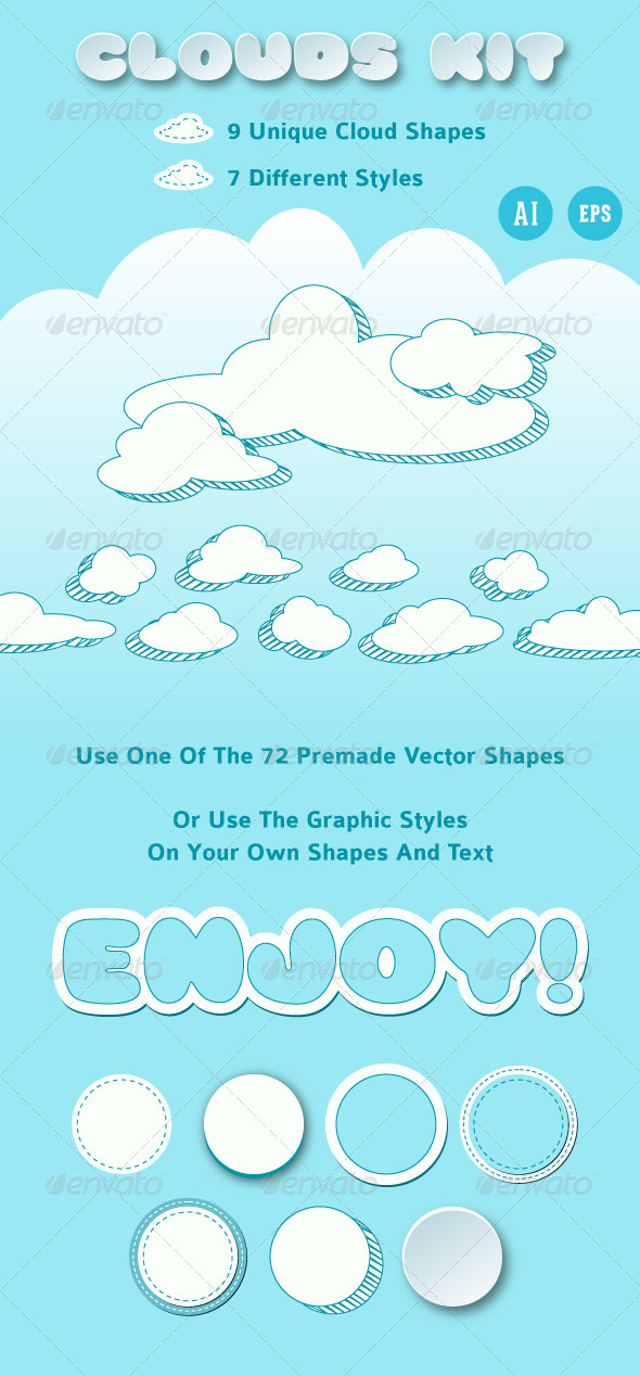 Clouds Vector Collection For Illustrator - Styles Illustrator