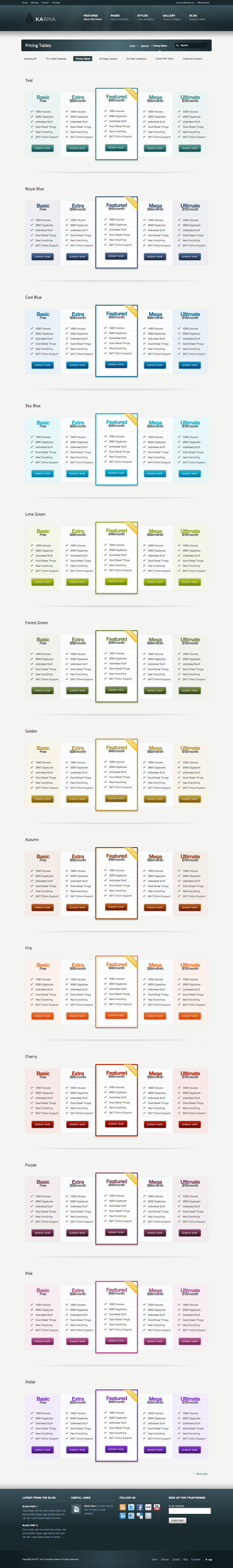 Karma - Responsive Clean Website Template - Karma comes with 13 gorgeous pricing tables for all of your selling needs.