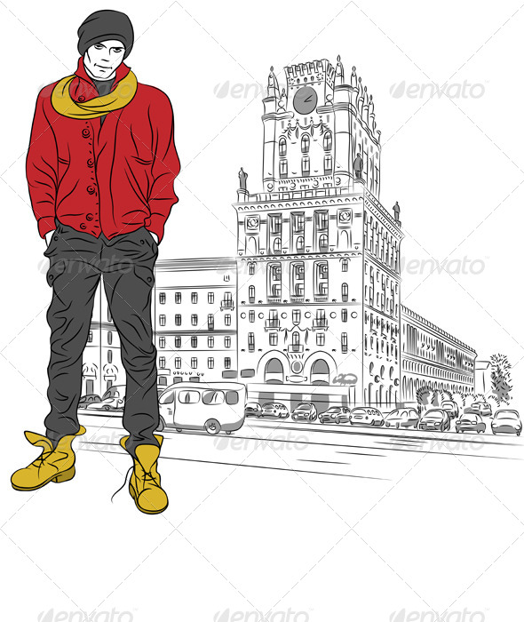 GraphicRiver Stylish Guy in the City-Center 4189423
