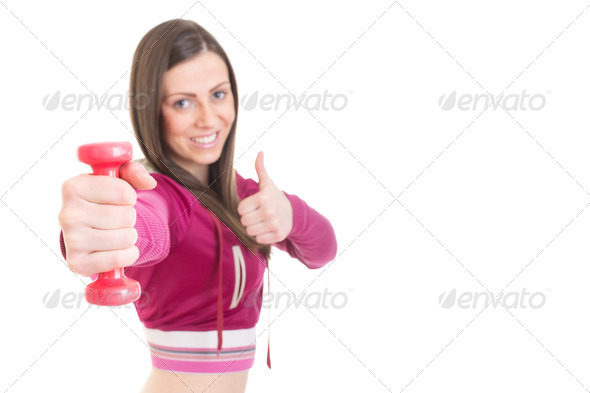 Positive fit girl with dumbbell - Stock Photo - Images