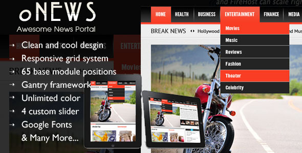 oNews - Responsive News Joomla Template