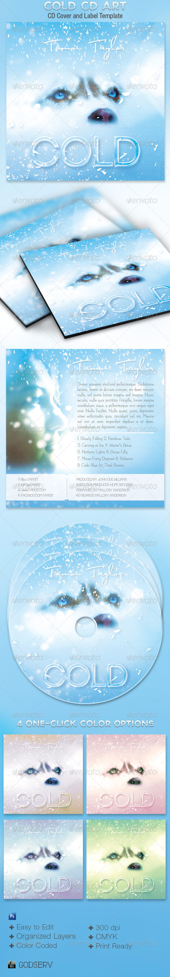 Cold CD Artwork Template - CD & DVD artwork Print Templates