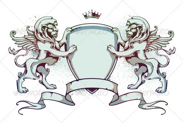 GraphicRiver Vintage lion on shield 4190750