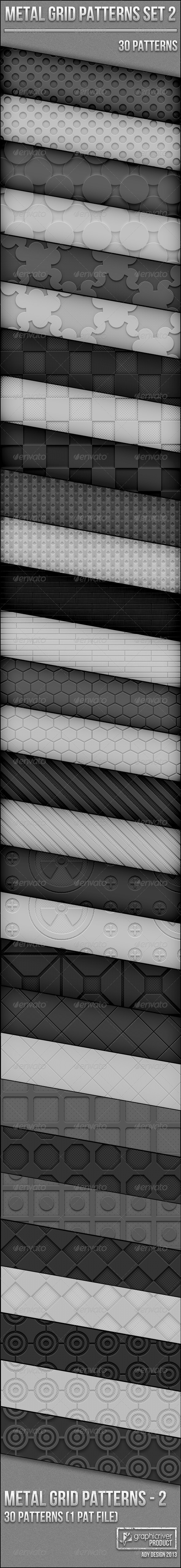 Metal Grid Patterns Set 2 - Techno / Futuristic Textures / Fills / Patterns