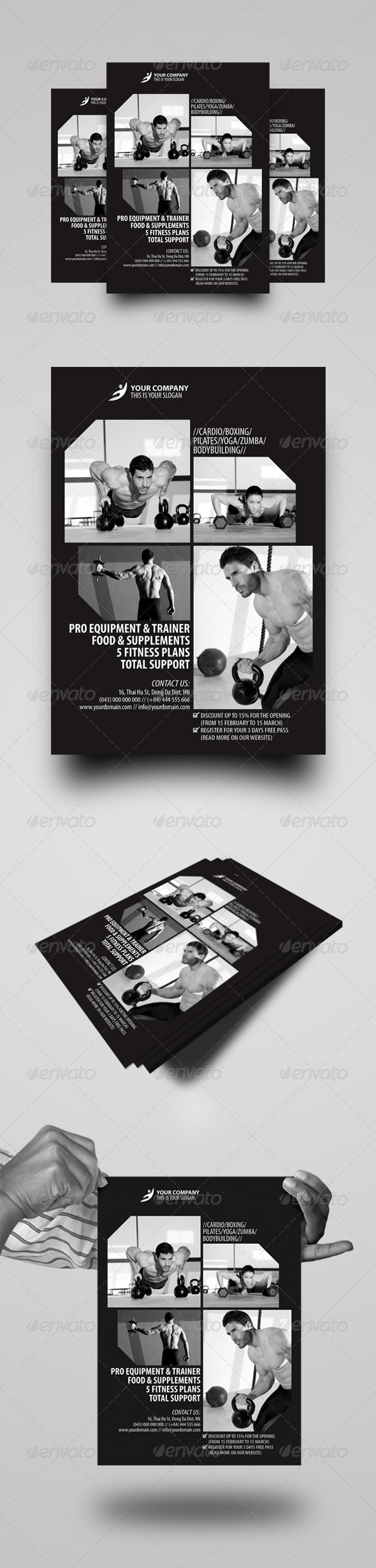 GraphicRiver Fitness Center Flyers 4199230