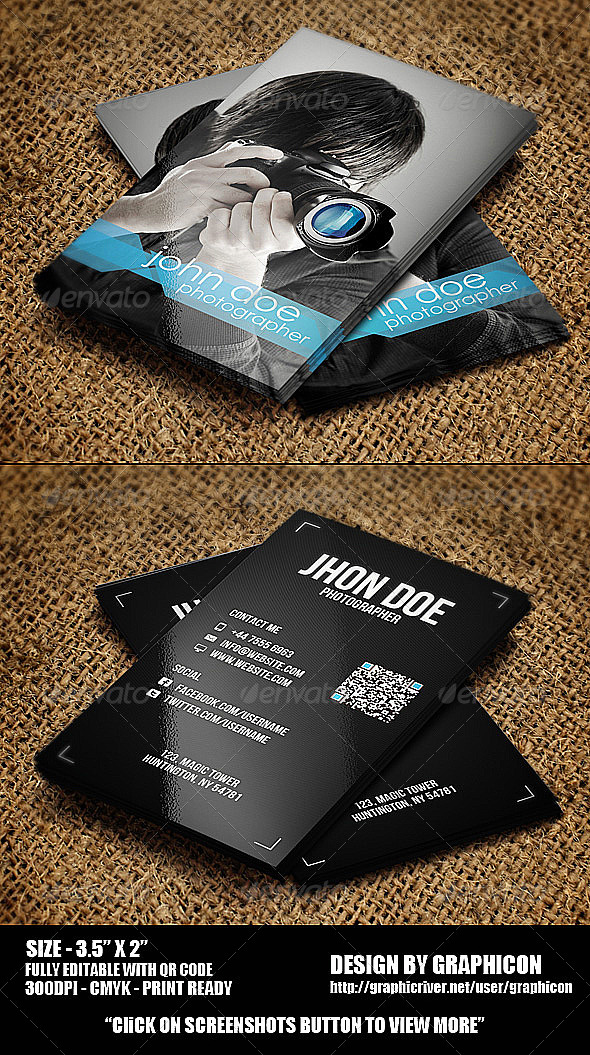 GraphicRiver Photographer Business Card 4024311
