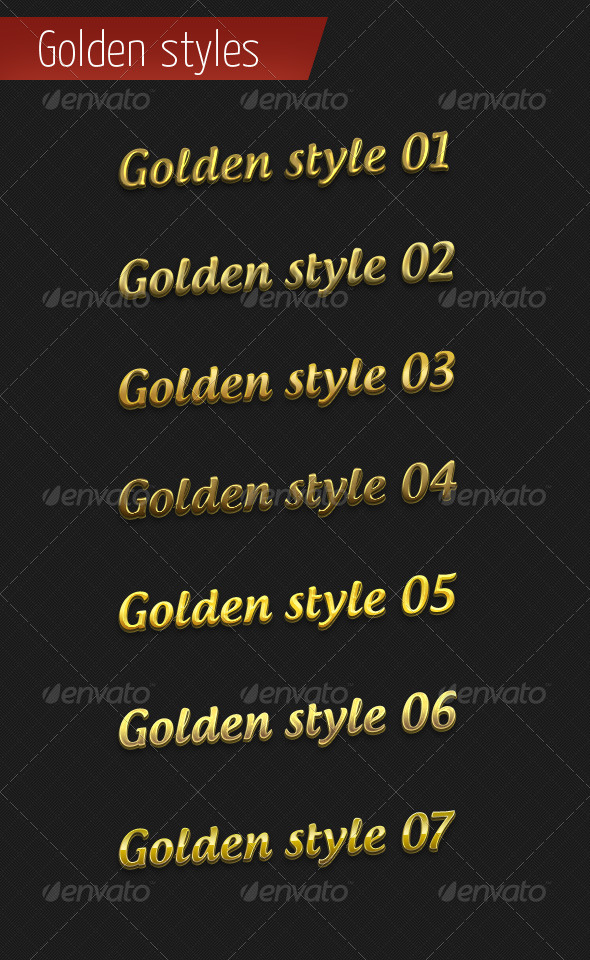 GraphicRiver 7 Golden Styles for Photoshop 4149207