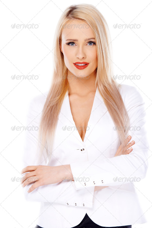 Casual and sexy blond woman on white - Stock Photo - Images