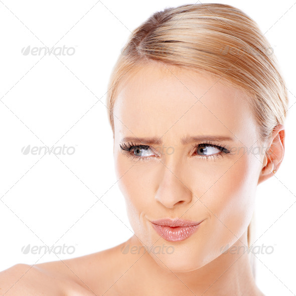 Blond woman is looking at her right - Stock Photo - Images