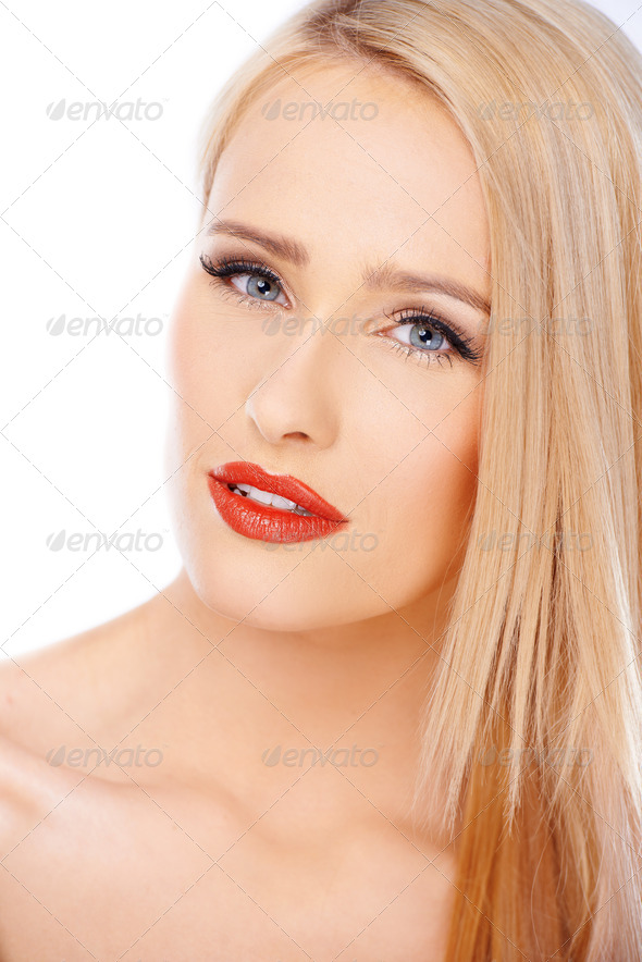 Close up portrait of natural blond woman with red lipstick - Stock Photo - Images