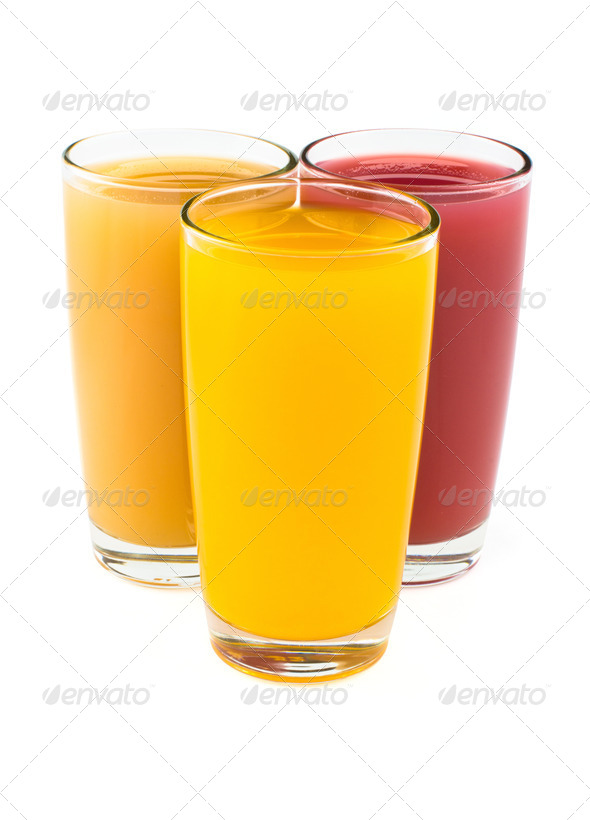 PhotoDune Tropical juices in glasses isolated on white 4254030