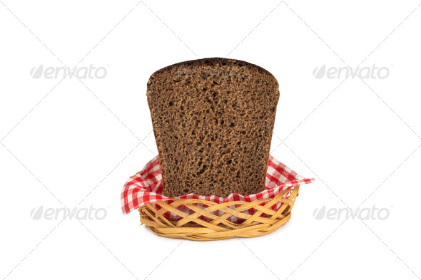 PhotoDune Basket with bread isolated on white 4254044