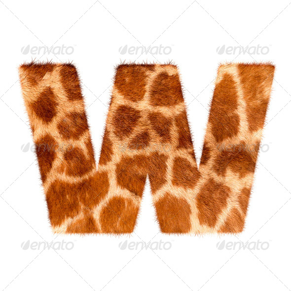 PhotoDune Letter from giraffe style fur alphabet Isolated on white background With clipping path 4254043
