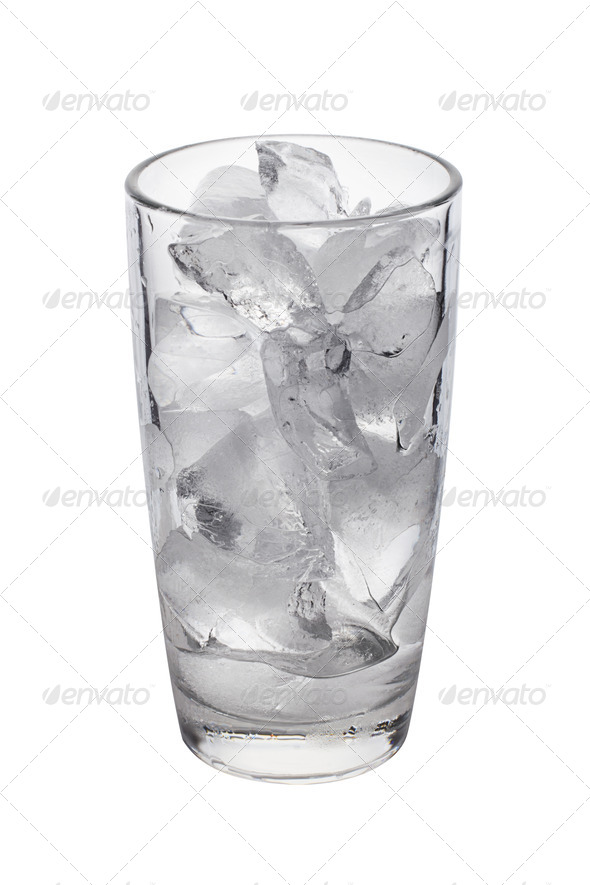 PhotoDune photo of empty glass with ice cubes on white background 4254048