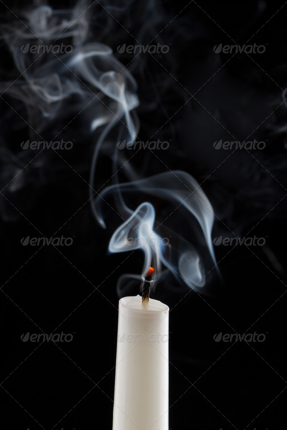 PhotoDune Extinguished candle with smoke Metaphor of the death 4254051