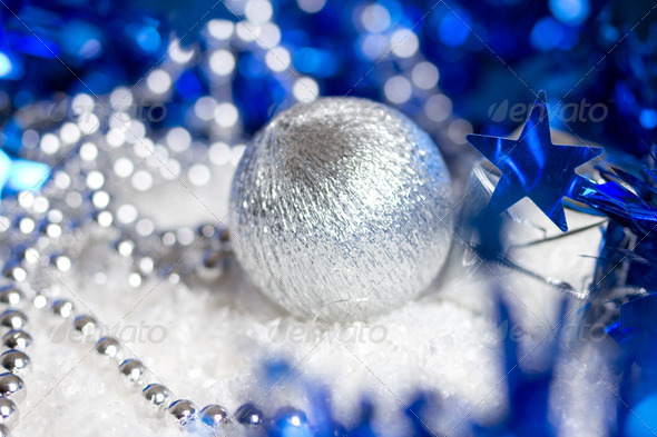 PhotoDune brilliant blue Christmas background 4254363