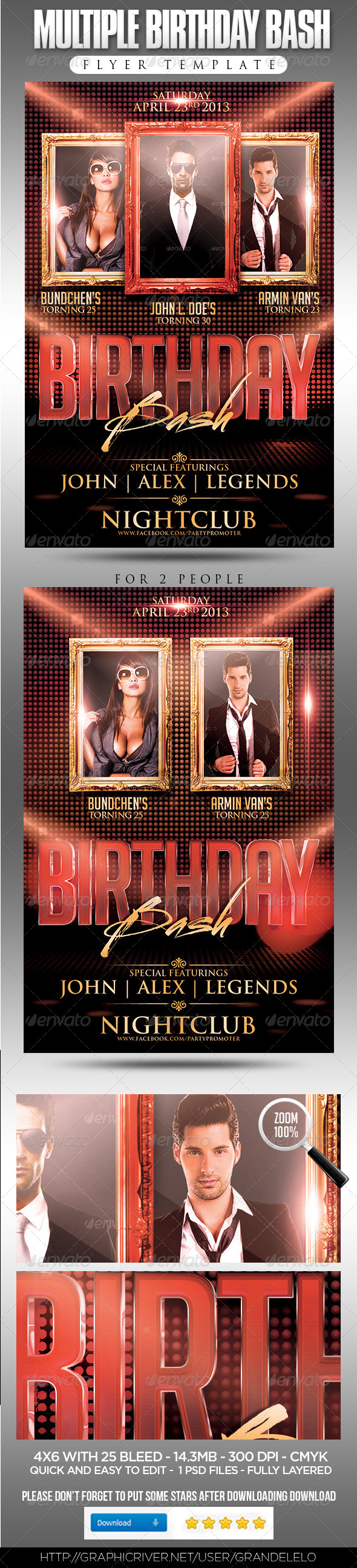 GraphicRiver Multiple Birthday Bash Flyer Template 4203626