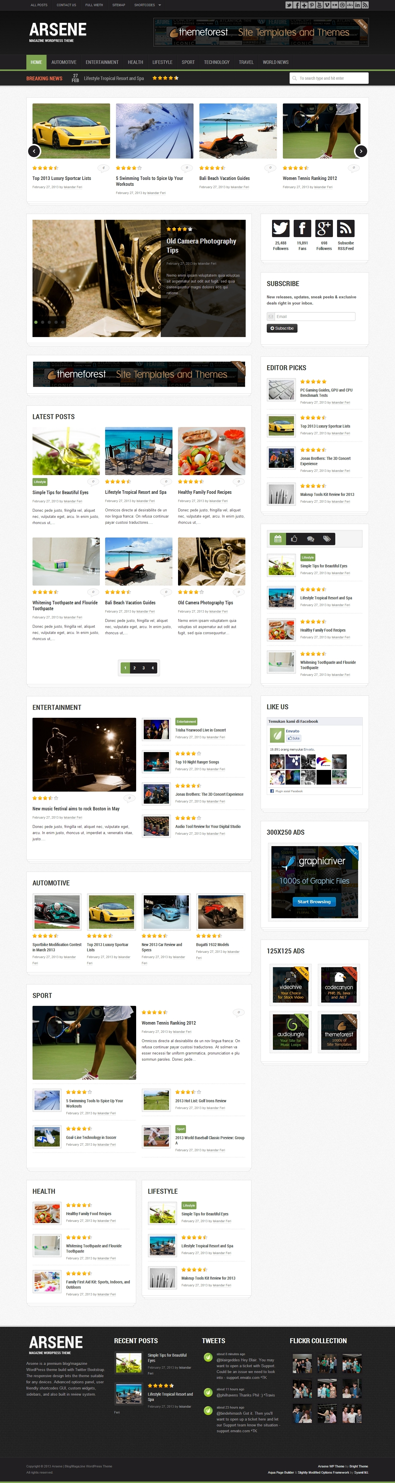 Arsene - Blog/Magazine WordPress Theme