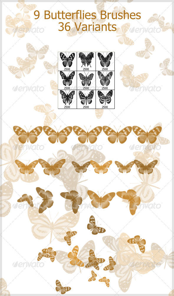 GraphicRiver 9 Butterflies Brushes 2500px 4208177