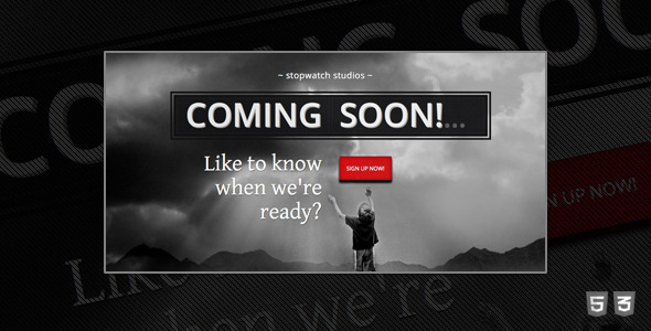 StopWatch - Coming Soon Html5 Template  - Under Construction Specialty Pages
