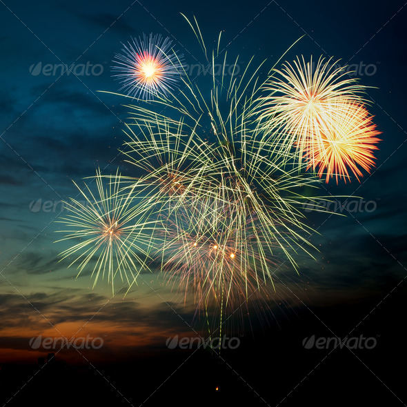 PhotoDune Brightly colorful fireworks in the night sky 4213842