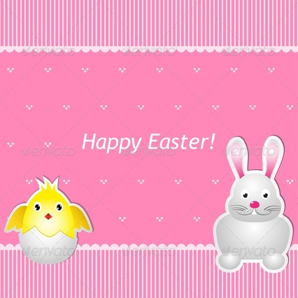 Easter Card With Chick And Hare - Miscellaneous Seasons/Holidays