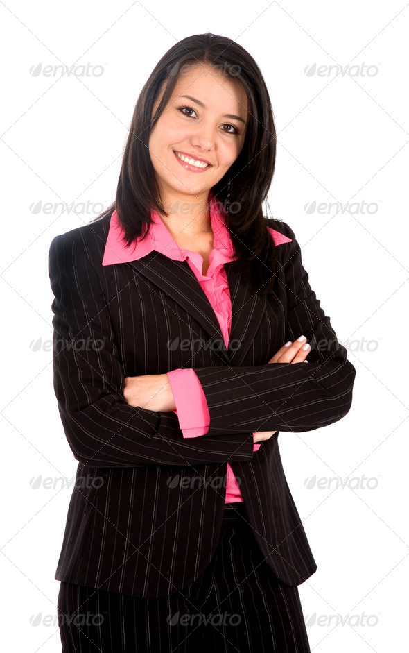 business woman portrait - isolated - Stock Photo - Images