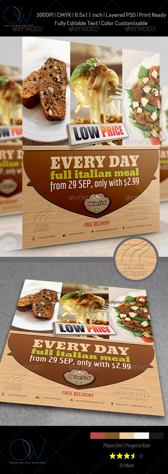 GraphicRiver Italian Restaurant Flyer 4042879