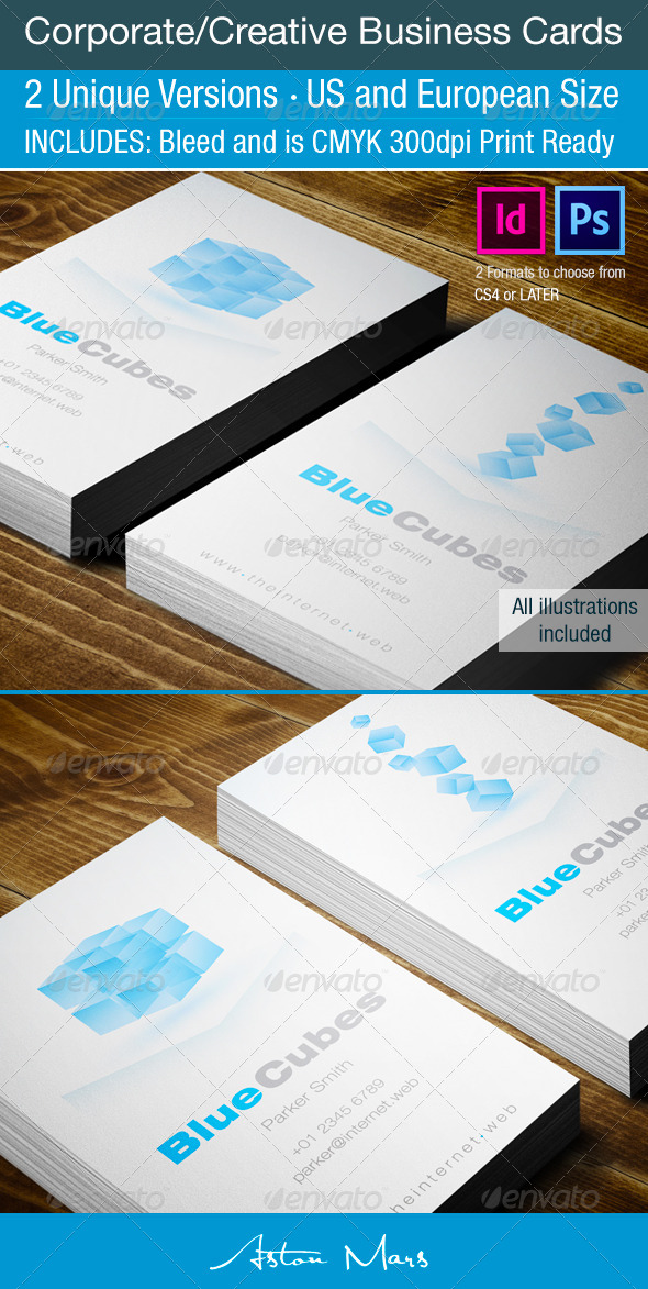 GraphicRiver Cube Corporate Busness Cards 4215848