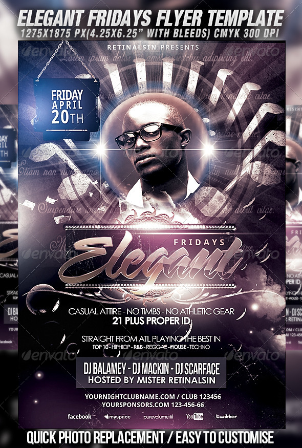 Elegant Fridays Flyer Template - Clubs & Parties Events