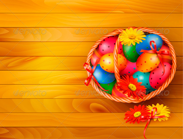 GraphicRiver Easter Eggs in Basket 4216183
